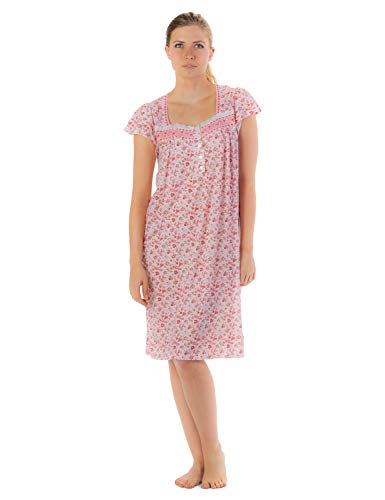Casual Nights Women's Cap Sleeves Embroidered Floral Lace Night Gown - Pink - X-Large