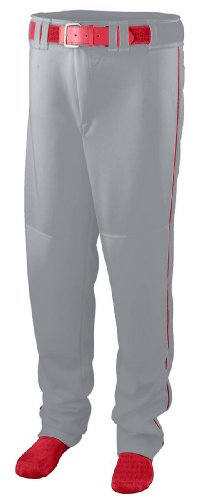 Augusta 1446A Youth Series Baseball & Softball Pant With Piping, Silver & Red - Extra Large