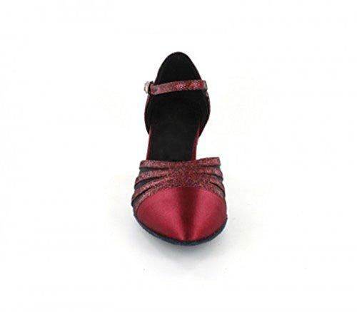 Tda Donna Tacco Medio Punta Chiusa Maglia Glitter Satin Scarpe Da Ballo Latino Scarpe Da Sposa Vino Rosso-6cm Tacco