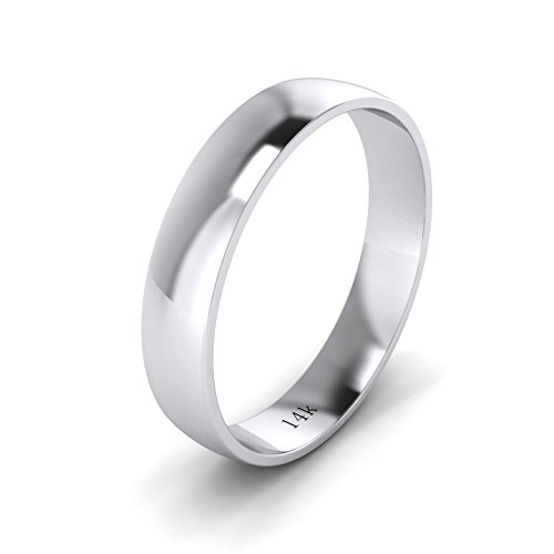 Unisex 14k White Gold 4mm Light Court Shape Comfort Fit Polished Wedding Ring Plain Band (12) by LANDA JEWEL