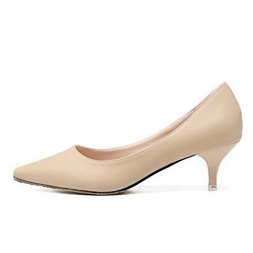 Aalardom Mujeres Solid Kitten Heels Bombas Con Punta Puntiaguda-zapatos Nude-crack Pattern