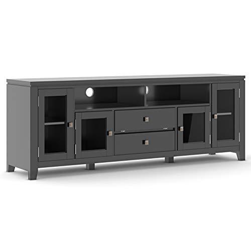 Simpli Home Cosmopolitan 72 inch Wide Media TV Stands, Black