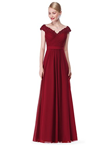 Ever-Pretty Womens Floor Length Sleeveless Military Ball Dress 6 US Burgundy