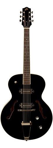 The Loar LH-279-BK Dual P-90 Arch Top Guitar, - Top Arch Ebony