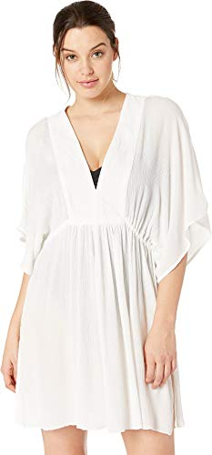 Lauren Ralph Lauren Women's Crinkle Rayon Cover-Up Tunic Dress White X-Large