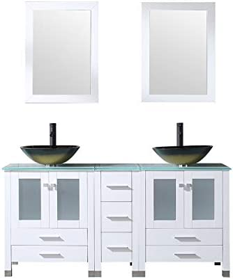 Walcut 60Inch White Bathroom Vanity and Sink Combo Modern MDF Wood Cabinet with Double Glass Brown Vessel Sink and ORB Faucet Combo with Pop Up Drain Brown 2 , 60
