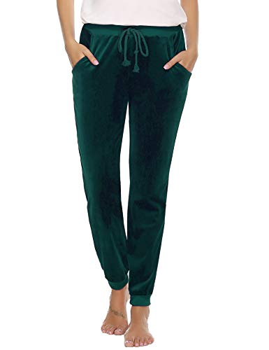 Abollria Women's Drawstring Waist Jogger Solid Velour Sweatpants with Pocket Dark Green