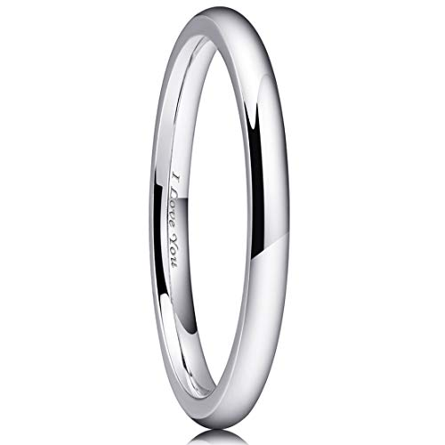- King Will Basic 2mm Stainless Steel Ring Original Color Full High Polished with Laser Etched I Love You 8