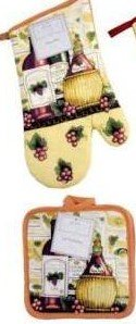 Wine Lovers Bottles And Grapes Design Kitchen Set 3 Piece - 2 Potholders, 1 Oven (Grape Holder)