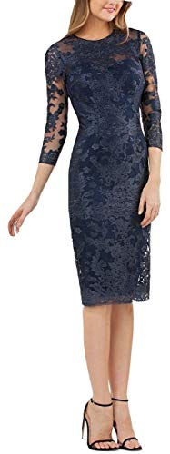 JS Collections Women's 3/4 Sleeve Embroidered Lace Sheath Dress, Navy, 8 ()