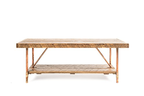 Niangua Furniture Rustic Coffee Table - Buckboard Red Oak - Metal Copper Pipe Legs - 48