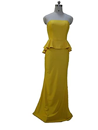 Yellow Strapless Bridesmaids Dresses with Peplums