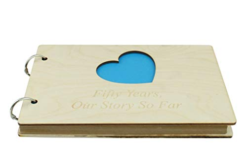 50 Year Anniversary Wooden Scrapbook - Perfect for Your Husband or Boyfriend
