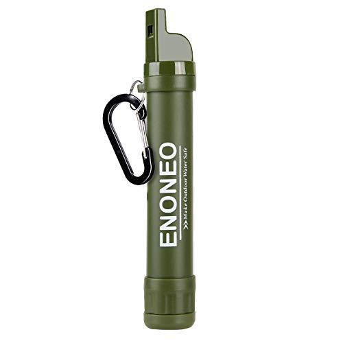 Wasserfilter Outdoor ENONEO 1500L Survival Wasserfilter Camping Entfernt 99.99% Bakterien und Protozoen Wasseraufbereiter Trinkwasserfilter mit Pfeife, Kompass, Spiegel für Reise Wandern Backpacking