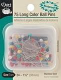 Bulk Buy: Dritz Long Color Ball Pins Size 24 Stainless Steel 75/Pkg 31 (3-Pack)