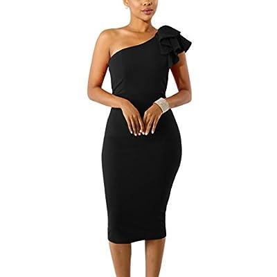 Mokoru Women's Sexy Ruffle One Shoulder Sleeveless Bodycon Party Club Midi Dress: Clothing