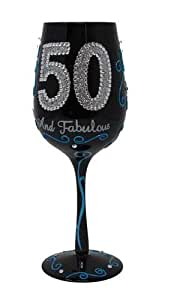 Bottom's Up 15-Ounce 50 and Fabulous Handpainted Wine Glass