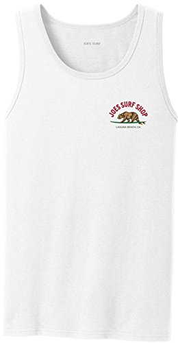 Joe's Surfing Bear Logo Tank Top-White/c-XL - White Logo Tank