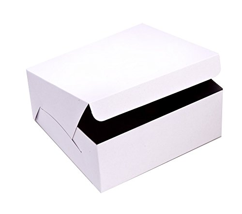 SafePro 10104, 10x10x4-Inch Cardboard Cake Boxes, Take Out Disposable Paper Cake Pie Containers, Wholesale White Bakery Box (50) ()