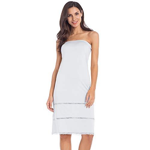 (Women's Tube Top Dress Slip Strapless Midi Underdress Sleeveless Invisible Straps White Small)