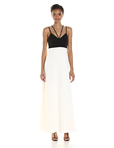 Jill Jill Stuart Women's Colorblock Double-Strap Detail Gown, Black/Off/White, 2 314GK 2BTLHgL