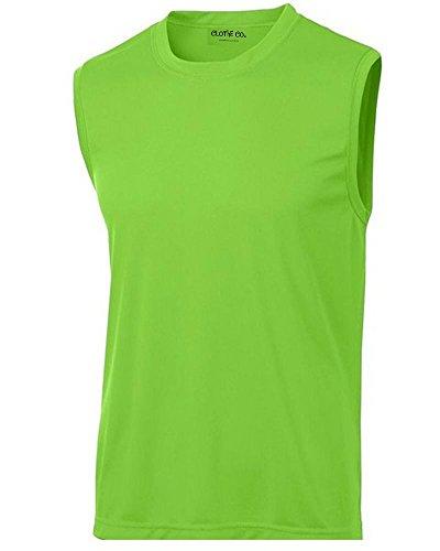 Clothe Co. Mens Sleeveless Moisture Wicking Muscle Shirt, Lime Shock, M