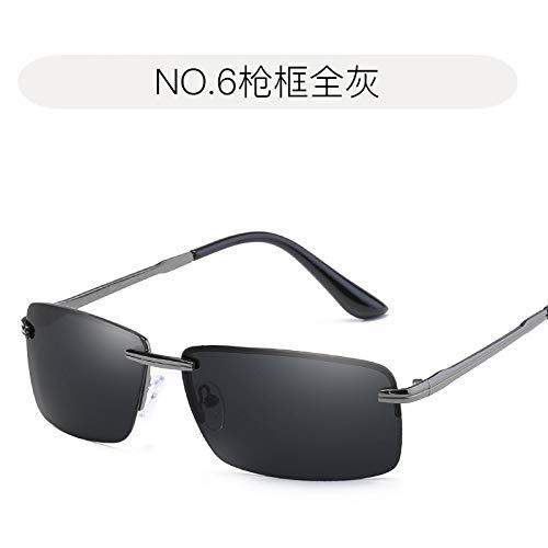 Sol Gafas Sol de Gafas de Hombre gray Negro frame de full Moda de Polarizador Gris polarizadas antideslumbrantes Gun Burenqiq de Gafas Marco para Tendencia Metal Completo XFq7wwZC