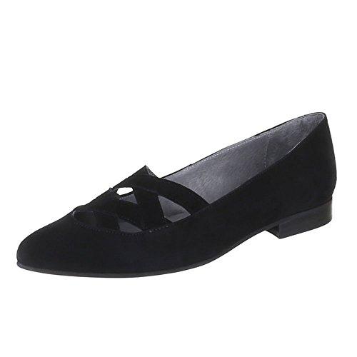 Ital-Design Damen Schuhe, 5235A, Pumps Komfort Leder Schwarz