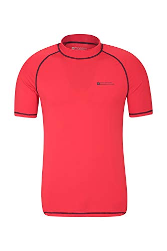 Mountain Warehouse UV-Badeshirt für Herren - Schwimmshirt mit UPF50+, schnelltrocknend, Flache Nähte UV Shirt - Ideal für Schwimmen und Tragen unter einem Schwimmanzug Rot Medium