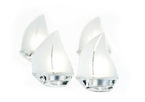 Frosted Glass Sailboat Tealight Holders - Kate Aspen 20060NA Glass Sailboat Tealight,Pack Of 4