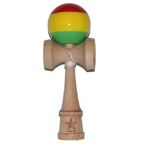 Jumbo Rasta Super Kendama, Super Sticky, Japanese Wooden Toy, Free String, USA Seller (Rasta Big Stripes)