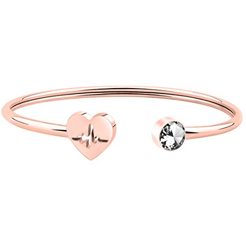 WUSUANED Dainty Rose Gold Heart Beat Cuff Bracelet for Nurse Doctor (Heartbeat Bracelet)