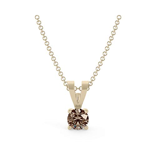 Frostrox 14K Yellow Gold 0.10 Carat Round Brilliant-Cut (I1-I2 Clarity) Classic Solitaire Deep Brown Diamond Pendant for Women