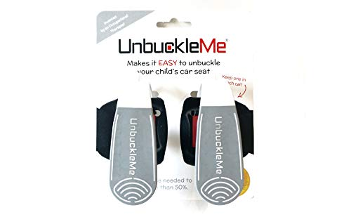 UnbuckleMe - Makes it Easy to Unbuckle a Child's Car Seat - Easy Buckle Release Tool for Parents, Grandparents & Older Children - Invented & Patented by a Grandma - Made in USA (2 Pack, Gray & White)