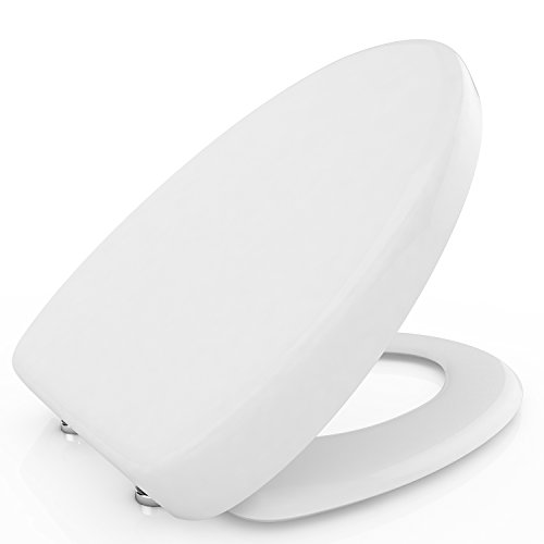 Toilet Seat with Cover Soft Close Quick Release for Easy Cleaning Fits All Manufacturers' Toilets (Elongated) - Toilet Seat Elongated Eljer