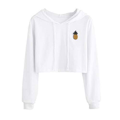 Sunhusing Ladies Fashion Pineapple Applique Short Hooded Sweater Solid Color Drawstring Pullover White ()