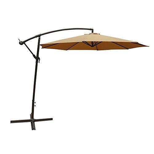 ALEKO UMB10FTTN Adjustable Outdoor Banana Hanging Canopy Umbrella Patio Waterproof Polyester with 360 Degree Rotation 8 x 10 Feet Tan