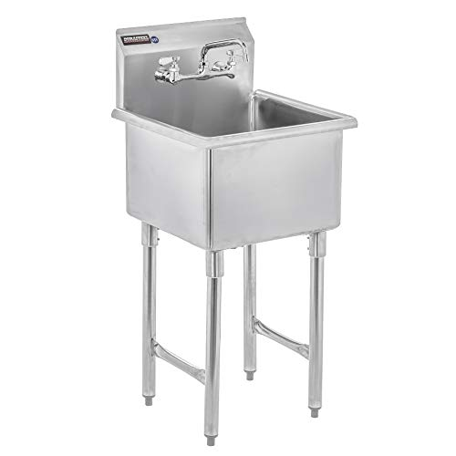 DuraSteel Stainless Steel Prep & Utility Sink - 1 Compartment Commercial Kitchen Sink - NSF...