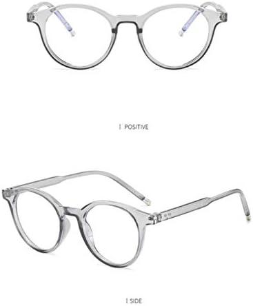 Miwaimao おしゃれメガネ,アンチブルーライトメガネ男性クラシックレトロラウンドメガネフレーム女性コンピュータ読書ゲームオタク眼鏡フレーム、透明グレー