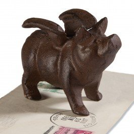 1 X Pig with Wings - Ears Figurine Down
