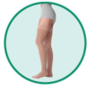 Varin Soft Full Thigh Short Full Foot Stocking, Beige, Size 3, Medium, Compression 40-50 mmHg, 1 Pa