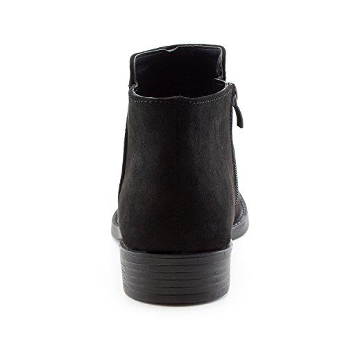 Faux Black Suede Zipper Heel Women's Western Side Adults Booties Ankle Stacked Kali RPqwaAYxw