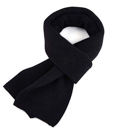 KUMONE Men Winter Cashmere Scarf Luxury Knit Wool Scarves, Black ()