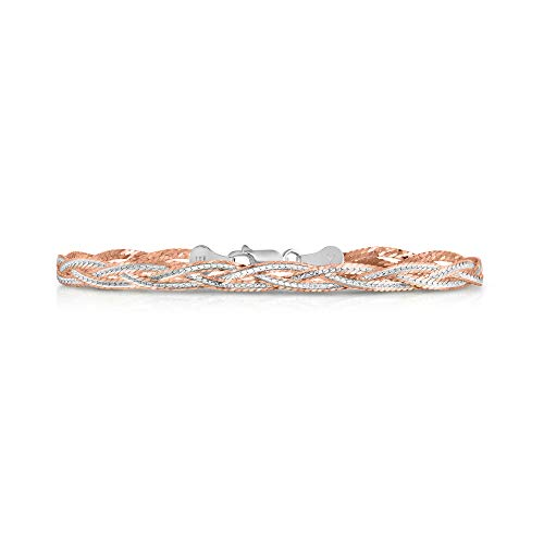 (Verona Jewelers Sterling Silver Diamond Cut 3 Strand Row Herringbone Chain Bracelet and Necklace- 925 Braided Necklace and Bracelet, Braided Snake Chain (7.5, Two Tone Rose Gold))
