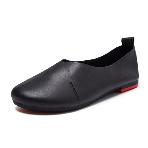 Genuine Suede Leather Skirt - TQGOLD Womens Genuine Leather Ballet Flats Shoes Comfort Slip On Casual Loafers Round Toe Handmade Soft(Size 38,Black)