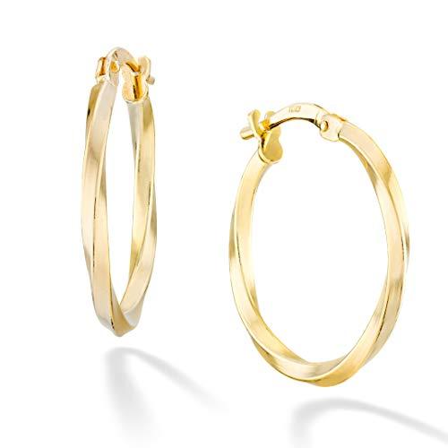 Miabella 18K Gold Over Sterling Silver Italian 2mm Round Polished Twisted Hoop Earrings for Women Girls 15mm, 20mm, 30mm, 40mm, 50mm, 60mm 925 Made in Italy - Italian Gold Earrings