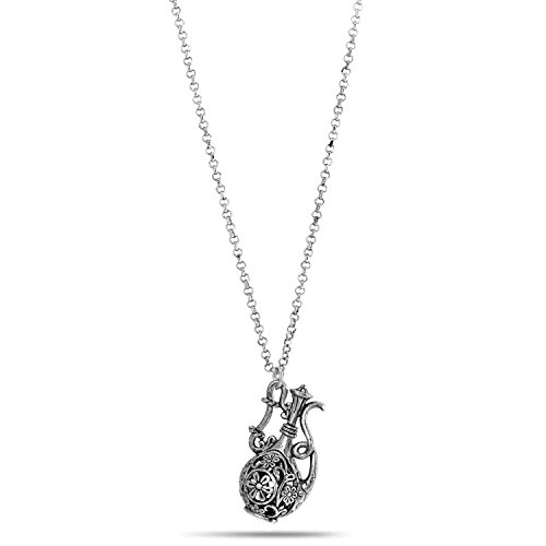 TAZZA OXIDIZED ANTIQUE LOOK VINTAGE BOHO STYLE SILVER-TONE MAGIC GENIE LAMP FILIGREE TEA POT PENDANT NECKLACE #SQ5220RH (Magic Lamp Costume)