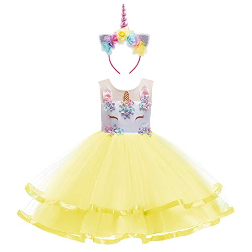 Child's Frilly Flower Girls Unicorn Dress Up Hair Hoop Set for Kids Fairy Princess Wedding Costume Junior Bridesmaid Short Gown S# White+Yellow(2pcs) 6-7 Years