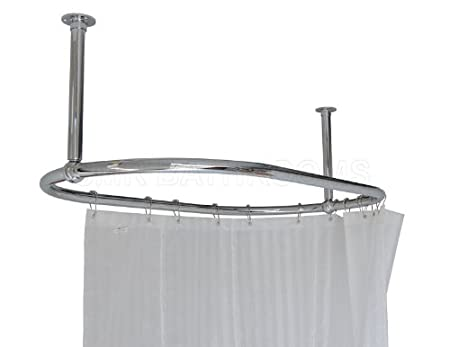 Oval Shower Curtain Rail Chrome - End Stays: Amazon.co.uk: Kitchen ...