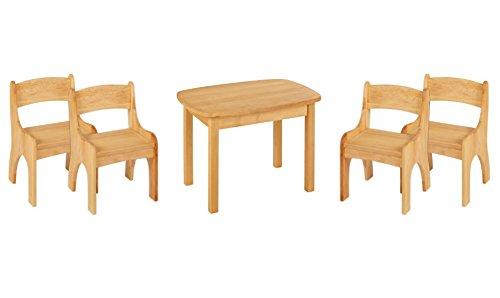 BioKinder Spar-Set Kindersitzgruppe Sitzgruppe für Kinder mit Tisch und 4 Stühlen Levin aus Massivholz Erle